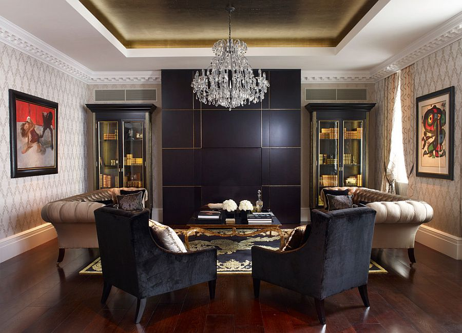 living room design ideas with black furniture small layout fireplace and tv 15 refined decorating in glittering gold view gallery coupled beige the oliver burns