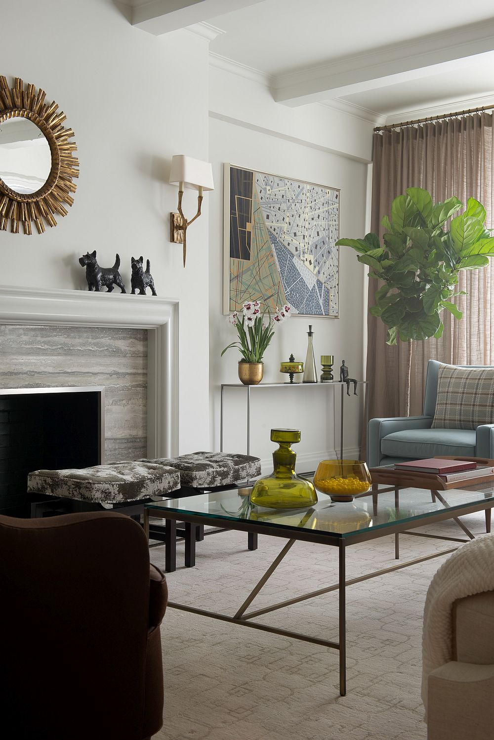 papa bear chair teal colored chairs contemporary new york apartment with chic midcentury vibe