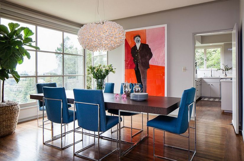 Dining table chairs bring the blue into this lovely contemporary setting [Design: Cheryl Burke Interior Design]
