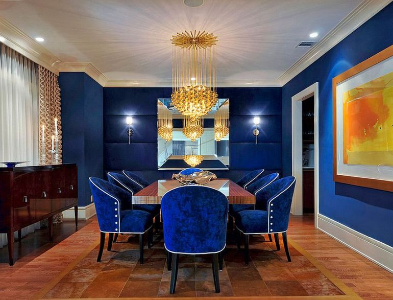 Fabulous dining room in captivating royal blue How to Use Diverse Shades of Blue to Craft a Brilliant Dining Room