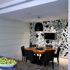 Black And White Wallpaper Ideas For Living Room Coastal Style 27 Splendid Decorating The Dining Lighting Adds To Appeal Of Striking In