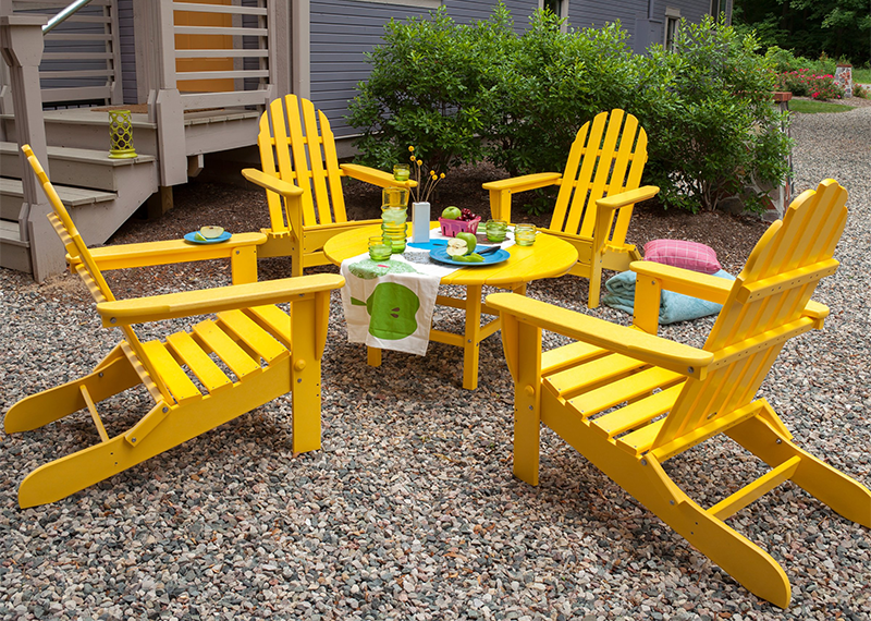 yellow adirondack chairs plastic dining room chair covers big w 8 eco-chic made from recycled materials
