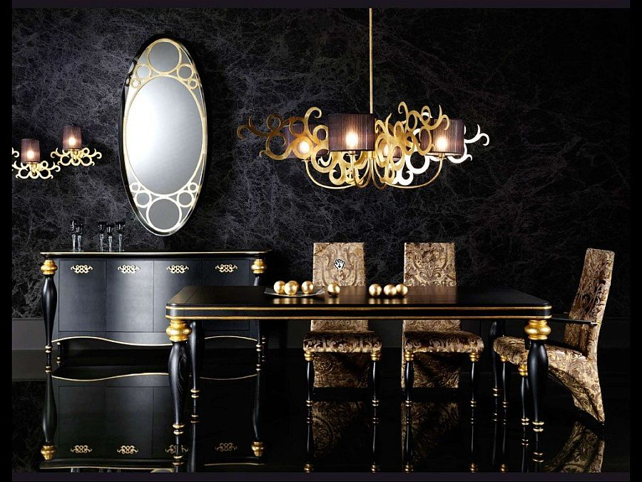 black and gold living room ideas furniture havertys 15 refined decorating in glittering stunning dining with hints of