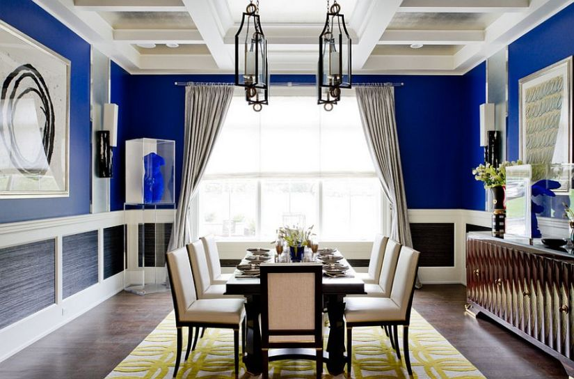Unique cheerful blue dining room [Photography: Rikki Snyder]