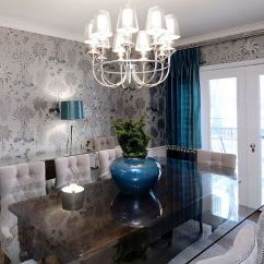 Living Room Idea Images L Shaped Sofa Sets For 27 Splendid Wallpaper Decorating Ideas The Dining View In Gallery Shapes Perfect Backdrop Brilliant Blue Accents Design Atmosphere Interior