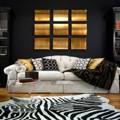 Black And Gold Living Room Ideas Beautiful Small Pictures 15 Refined Decorating In Glittering View Gallery Zebra Rug Backdrop Along With Accents For The