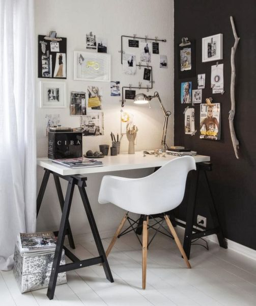 black and white home office 50 Splendid Scandinavian Home Office and Workspace Designs