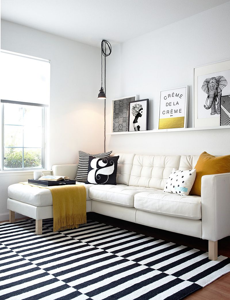 scandinavian living room furniture extensions photos 50 chic rooms ideas inspirations view in gallery black and white with elegant pops of yellow design studio revolution