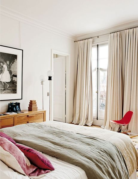 french bedroom curtains Decorating Parisian Style: Chic Modern Apartment by Sandra Benhamou