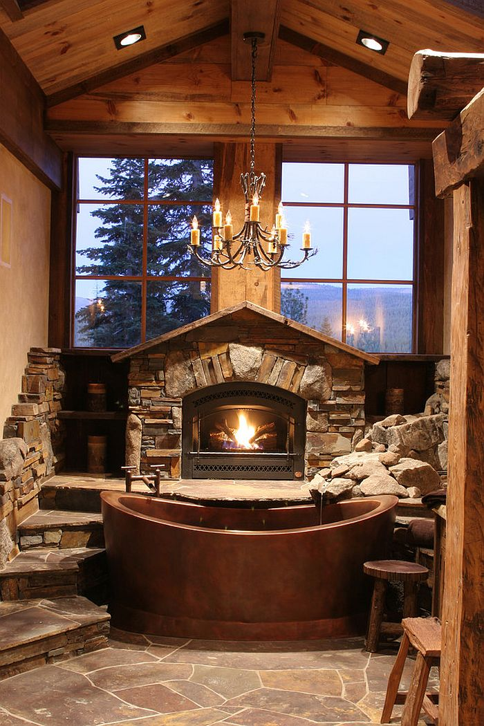 bathroom with fireplace