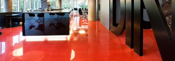 Red terrazzo floor at Blue Finn Cafe  Decoist