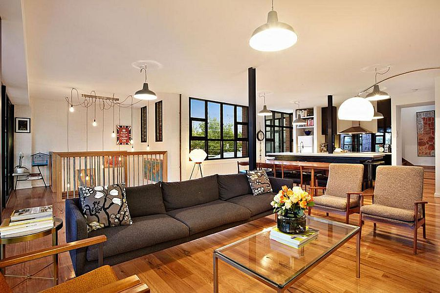 new york loft style living room sofa for small space touch of warehouse conversion in melbourne view gallery second floor area the styled home