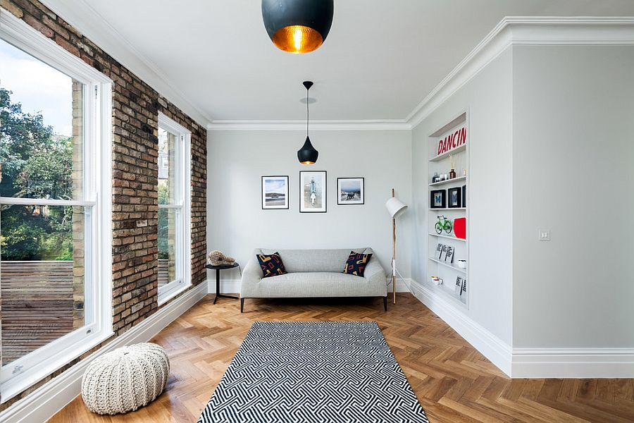 scandinavian living room design chairs for small apartments 50 chic rooms ideas inspirations with brick wall and tom dixon pendants from david butler photography