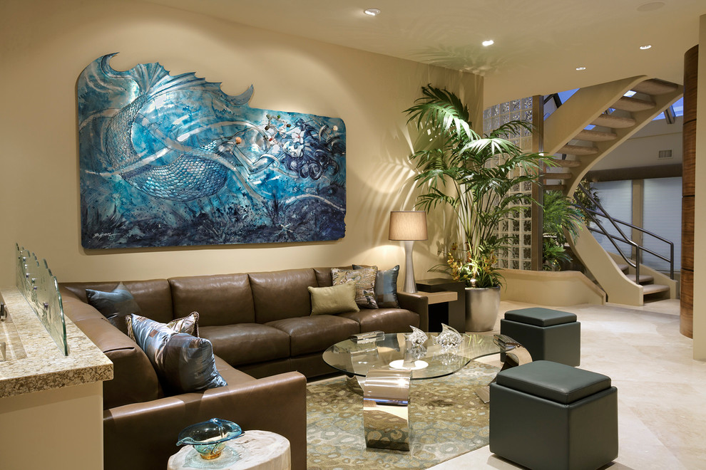 modern living room wall art decorating with brown leather sectional 50 ideas for a moment of creativity brilliant mermaid in aluminum the from cantoni