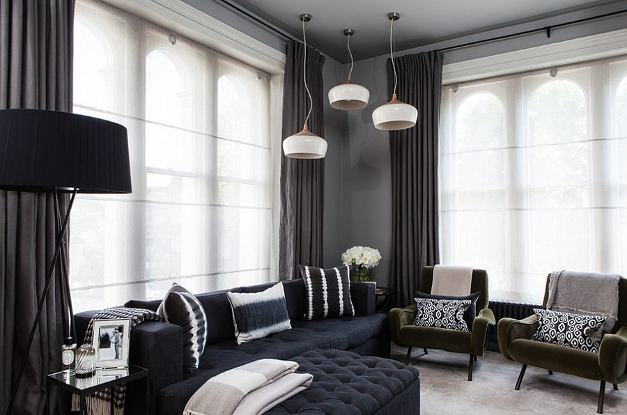 black and beige living room curtains paint color ideas for small how to use dark shape a dramatic cozy interior view in gallery drapes look as elegant lighter whiter versions when used right from