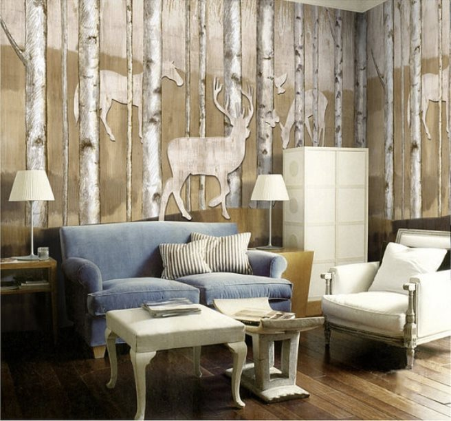 wall mural ideas for living room modern accent chairs 15 impressive that bring the outdoors in view gallery reinder woods wallpaper 5