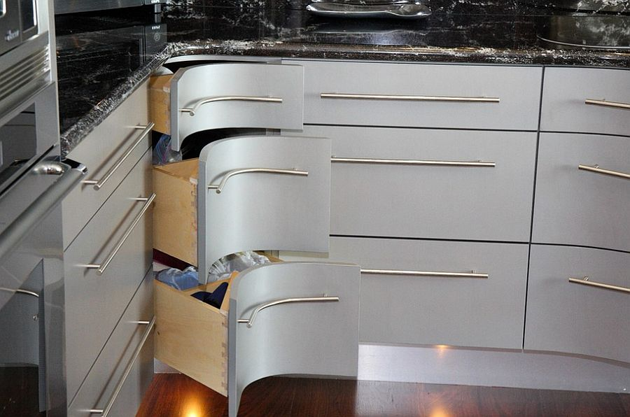 kitchen corner cabinets dinettes 30 drawers and storage solutions for the modern curvy steal show in this design grace blu designs