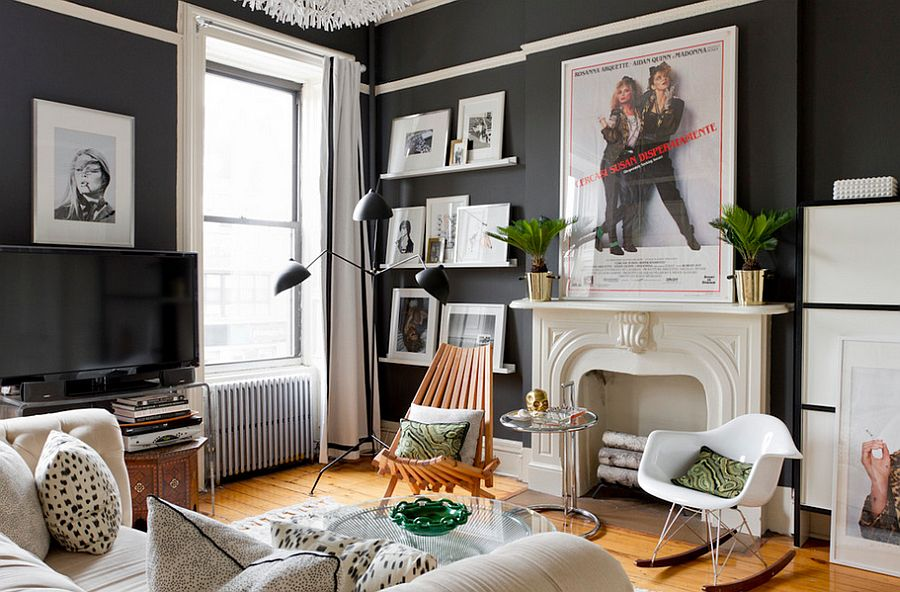 eclectic living room decor brown 50 rooms for a delightfully creative home dark walls the chic space photography rikki snyder