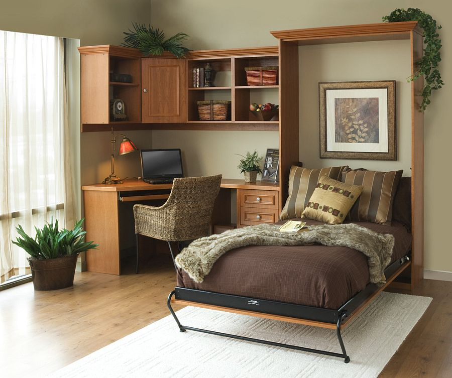 murphy bed in small living room black and red 25 versatile home offices that double as gorgeous guest rooms smart office with a for guests from tailored