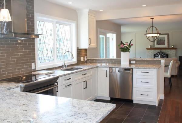 white kitchen with grey granite The Beauty of White Ice Granite