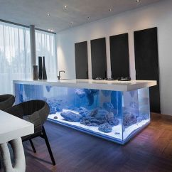 Modern Style Of Divider Counter In Living Room And Kitchen Log Holder 8 Extremely Interesting Places To Put An Aquarium Your Home View Gallery Island