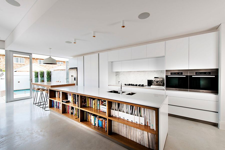 kitchen bookshelf organizing trendy display 50 islands with open shelving view in gallery island bookshelves is an absolute showstopper contemporary perth home design mata