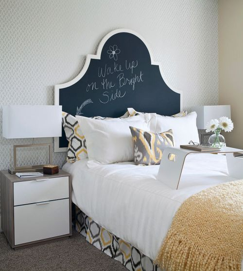 Headboards Chalkboard Feminine White Bedroom Bed Wake Up On The Bright Side DIY