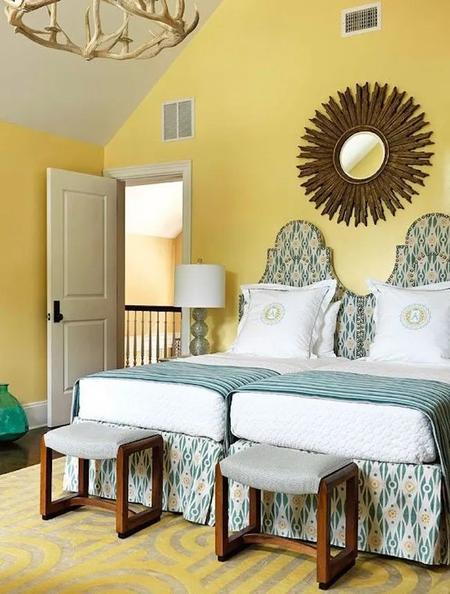 View In Gallery Two Twin Beds Pushed Together Yellow Room