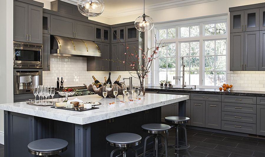 gray kitchen cabinets portable islands 50 gorgeous kitchens that usher in trendy refinement view gallery charcoal is a popular choice contemporary design jules art of living