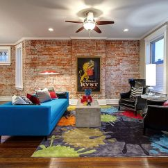 Best Color For Living Room Wallpaper Ikea 100 Brick Wall Rooms That Inspire Your Design Creativity View In Gallery Colorful Couch Blue Rug And Plush Chairs Make A Vivacious