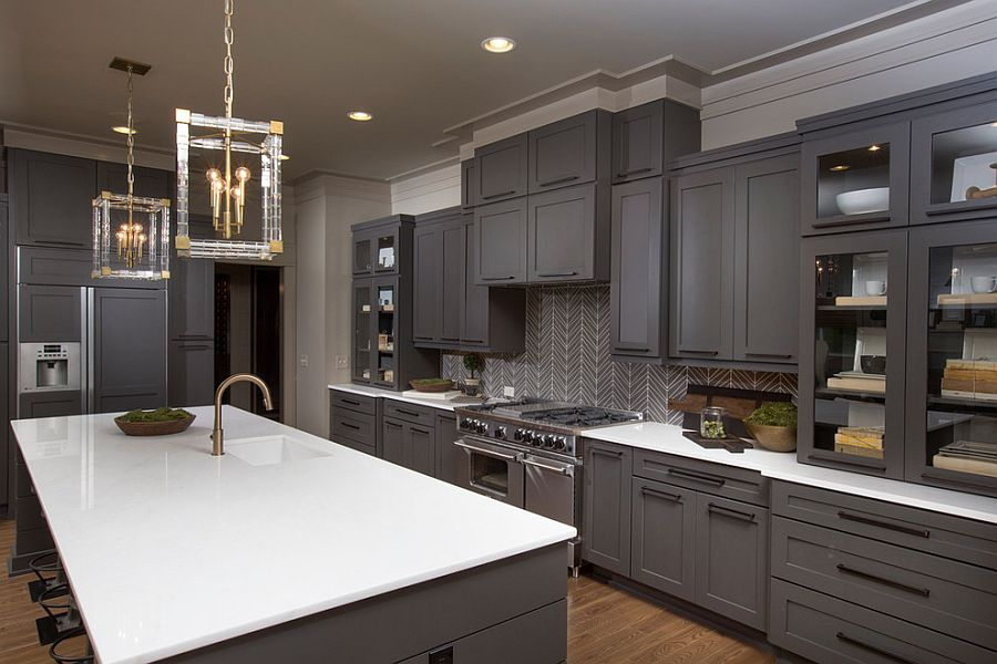gray kitchen cabinets craigslist used 50 gorgeous kitchens that usher in trendy refinement exquisite with sparkling pendant lighting design romanelli hughes custom home builders