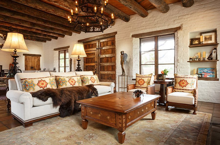 old style living room ideas modern furniture 100 brick wall rooms that inspire your design creativity heavy wooden beams and walls accentuate the southwestern in