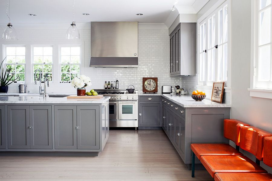 grey kitchen cabinets square tables 50 gorgeous gray kitchens that usher in trendy refinement large windows bring ample natural light design joe schmelzer treasurbite studio