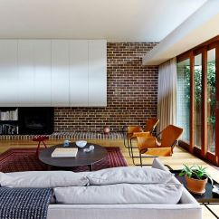 Living Room Contemporary Interiors Decor 2018 100 Brick Wall Rooms That Inspire Your Design Creativity View In Gallery Modern Mixes With Shelves White Downie North