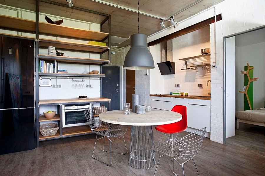 Small Modern Industrial Apartment Draped In Metal, Wood