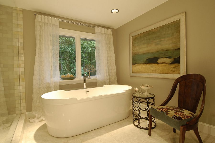 stool chair in chinese queen anne recliner chairs little luxury: 30 bathrooms that delight with a side table for the bathtub