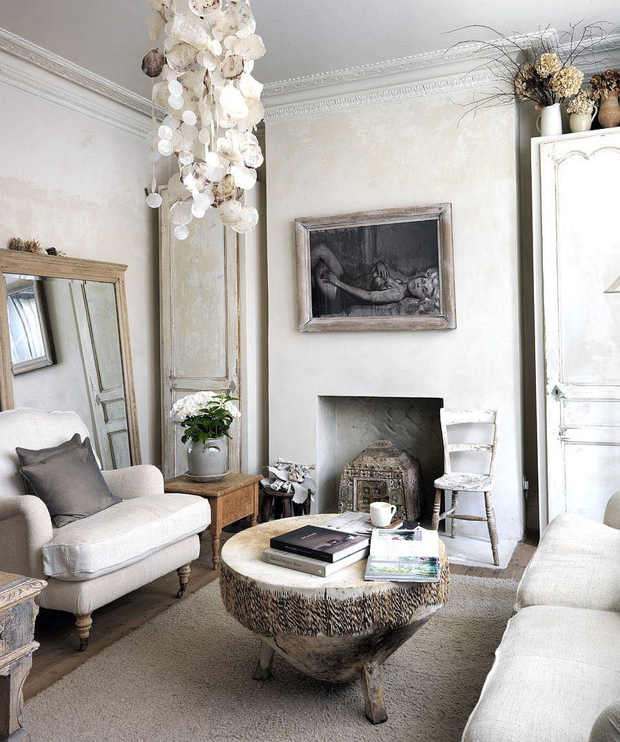 shabby chic living room decorating ideas small grey and black 50 resourceful classy rooms view in gallery tree trunk coffee antique mirror epitomize the style of design