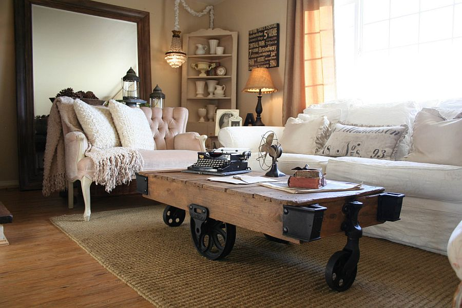 diy shabby chic living room ideas large pendant light 50 resourceful and classy rooms vintage coffee table on wheel is a trendy choice for the modern space from