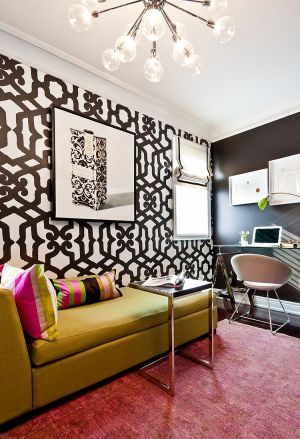 office offices pattern colors decor brown wall background decorating interior bold living patterns modern guest pink meisels colorful gold accent