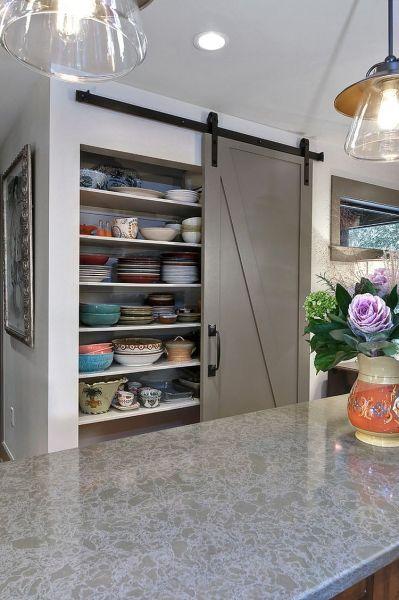 sliding barn door kitchen pantry 25 Trendy Kitchens That Unleash the Allure of Sliding Barn