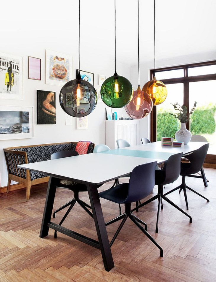 View in gallery Colorful orbs above the dining table breathe life into the  curated, contemporary dining room [
