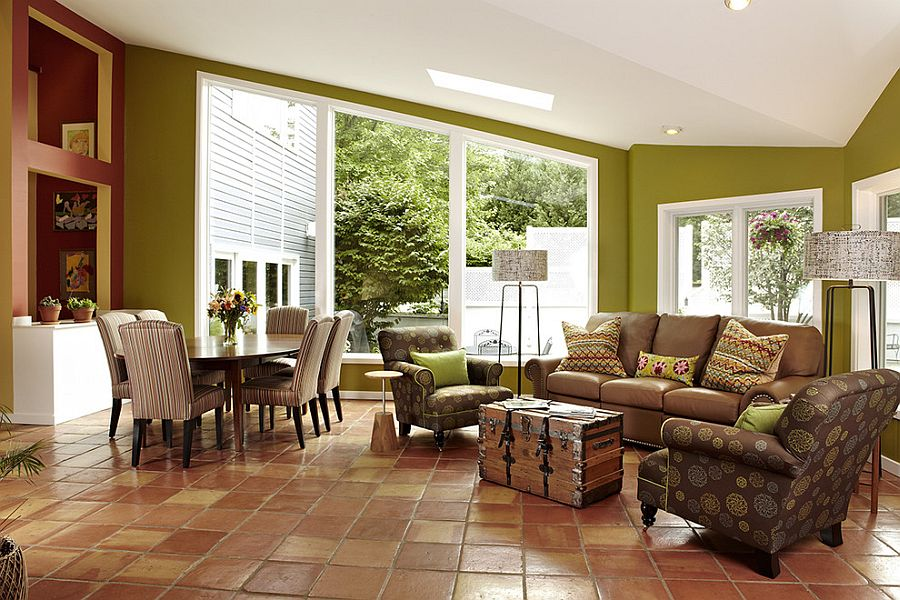 tiled living room solid wood furniture sets 20 interiors that embrace the warm rustic beauty of terracotta tiles view in gallery elegant use with tumbled edges for modern design