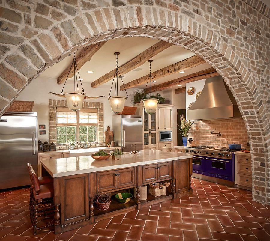 Exquisite Kitchen With Stone Walls And Terra Cotta Tile Herringbone Flooring Decoist