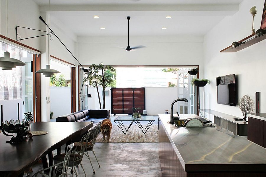 small open plan kitchen diner living room ceiling design kerala old terrace house turned into a modern family residence