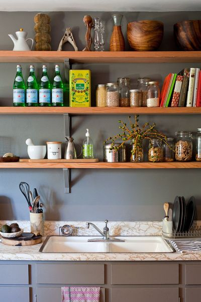 open shelving kitchen 50 Fabulous Shabby Chic Kitchens That Bowl You Over!