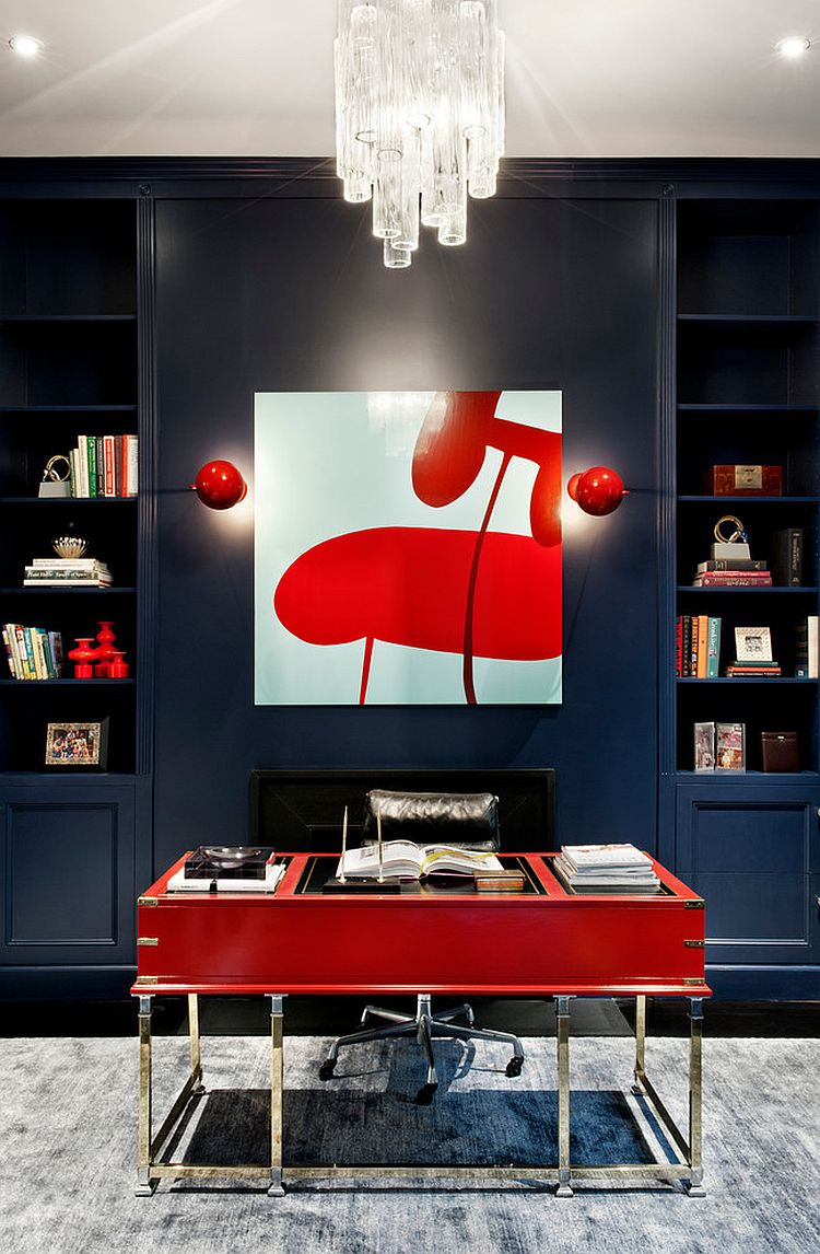 modern artwork for living room ideas furniture in apartment 20 home offices that turn to red energy and excitement