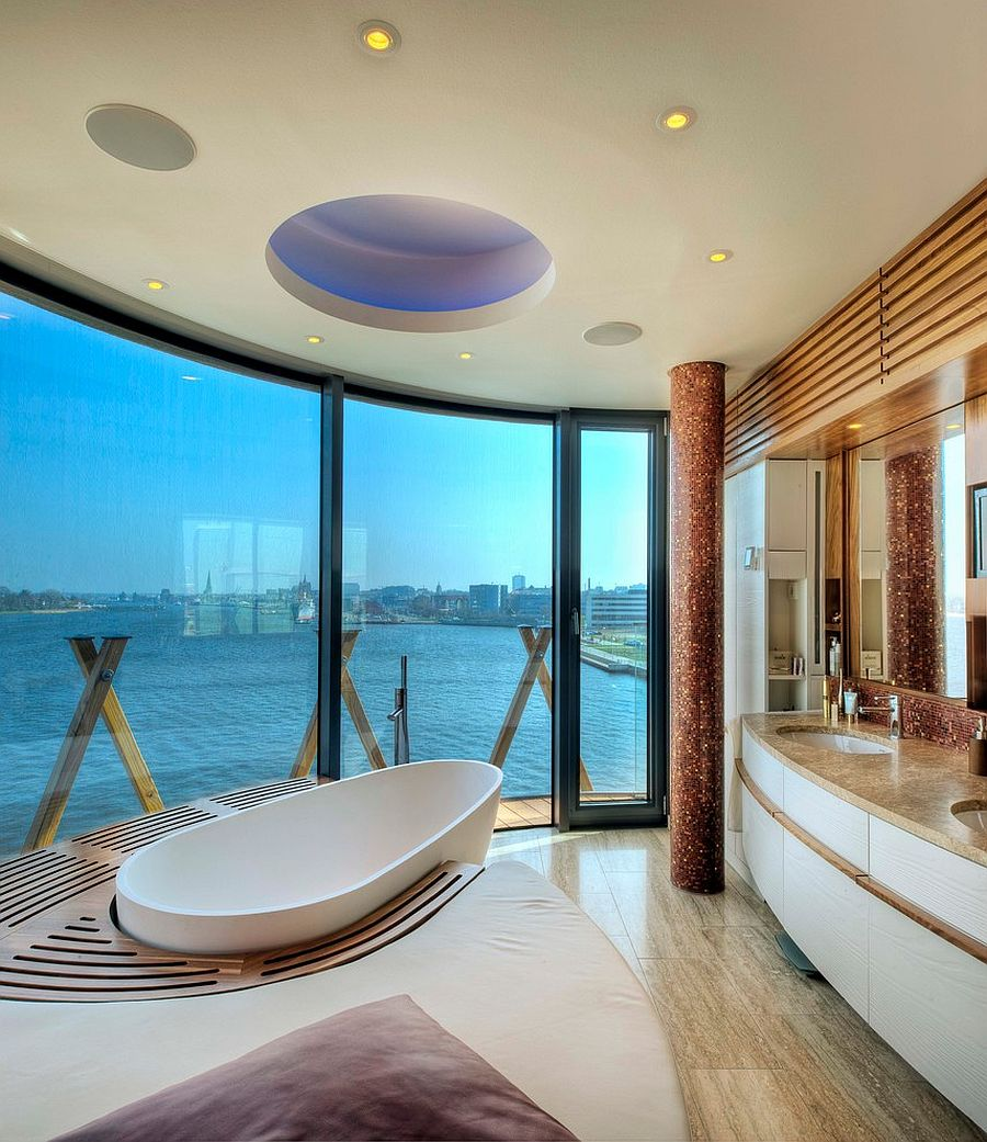 Best Kitchen Gallery: 20 Luxurious Bathrooms With A Scenic View Of The Ocean of Bathroom Designs With Pool House on rachelxblog.com