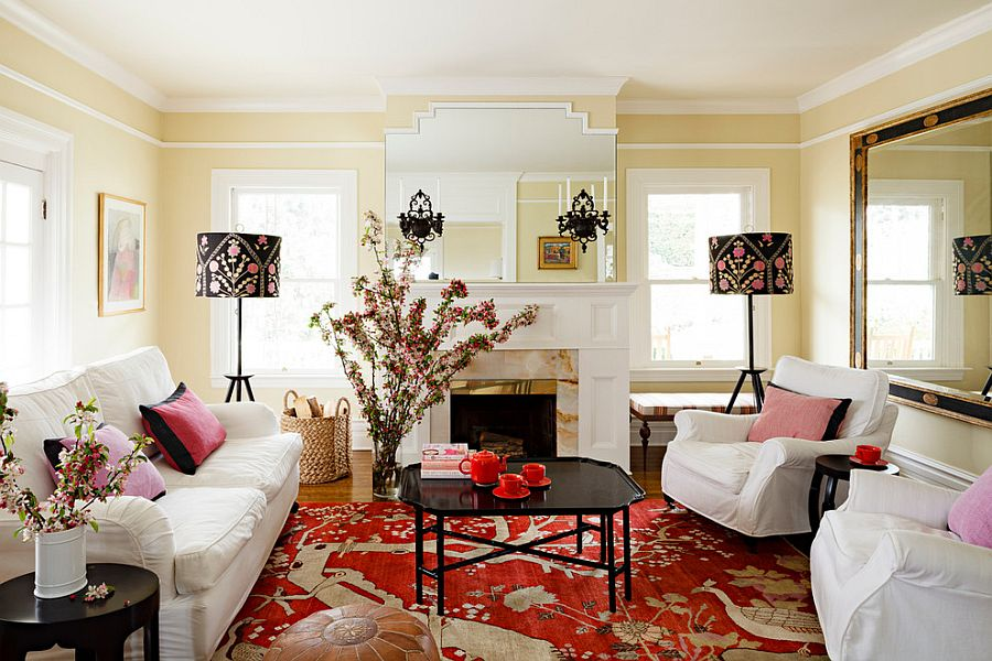 how to decorate a traditional living room with 2 couches and chairs bold glamorous style around black coffee table view in gallery blend of red the design jessica helgerson interior