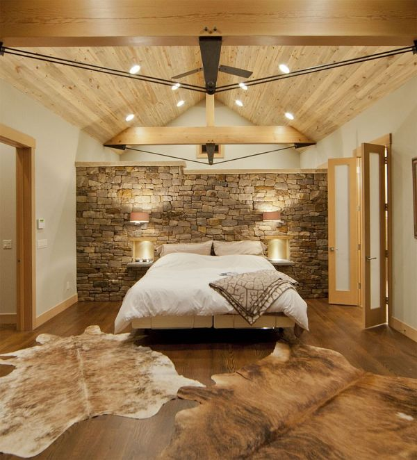 Contemporary Bedroom With Montana Limestone Headboard Wall