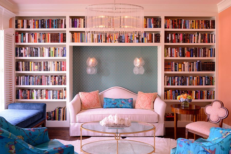 light pink living room ideas small styling 20 classy and cheerful rooms eclectic with a wall of books design kim armstrong